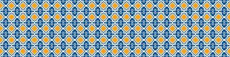 Portuguese Mosaic Tile Seamless Border Pattern. Ceramic Azulejo Style. Tiled Motif Graphic Banner. Traditional Portugal Tourism Ribbon Trim.Travel Brochure Background.