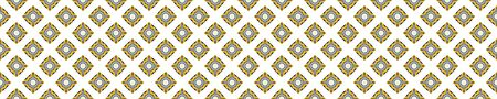 Portuguese Mosaic Tile Seamless Border Pattern. Ceramic Azulejo Style. Tiled Motif Graphic Banner. Traditional Portugal Tourism Ribbon Trim.Travel Brochure Background. Packaging Design Vector  イラスト・ベクター素材