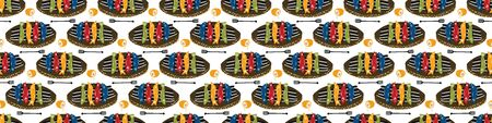 Grilled Sardines Fish Seamless Vector Border Pattern. Traditional BBQ Motif. Lisbon St Anthony Portugese Food Festival. Banner Hot Barbeque Recipe, Portugal Seafood Background Edging