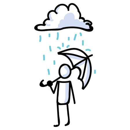 Hand Drawn Stick Figure with Umbrella standing in Rain. Concept of Storm Shelter Expression. Simple Icon Motif Raindrop Communication. Nature, Cloud, Thunder, Holding Bujo Illustration.