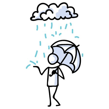 Hand Drawn Stick Figure with Umbrella in Rain. Concept of Storm Shelter Expression. Simple Icon Motif Raindrop Communication. Nature, Cloud, Thunder, Holding Bujo Illustration. Vector.