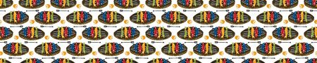 Grilled Sardines Fish Seamless Vector Border Pattern. Traditional BBQ Motif. Lisbon St Anthony Portugese Food Festival. Banner Hot Barbeque Recipe, Portugal Seafood Background Edging Vector Illustration