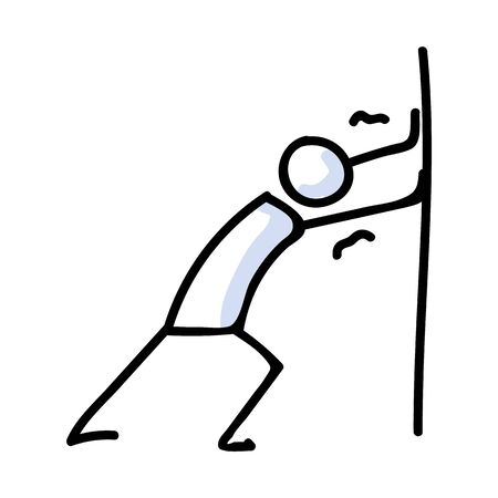 Hand Drawn Stick Figure Pushing Wall Pose. Concept of Physical Struggle Expression. Simple Icon Motif for Posture Achievement against Wall. Obstacle, Arms, Push Bujo Illustration.