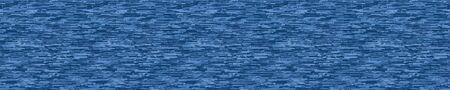Seamless Border Texture of Pixel Denim Blue Melange Marl Blend. Variegated Indigo Dye Color Banner Edging. Dense Pixelated Noise. Disrupted Glitch Stripe Ribbon Trim Background. Vector