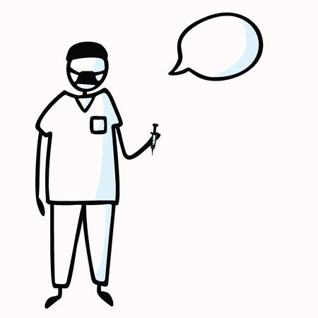Hand Drawn Stick Figure Doctor or Surgeon and Speech Bubble, Stethoscope. Concept Health Care Medical Hospital. Cartoon Icon Motif for Surgery Treatment, Physician Clip art Illustration.