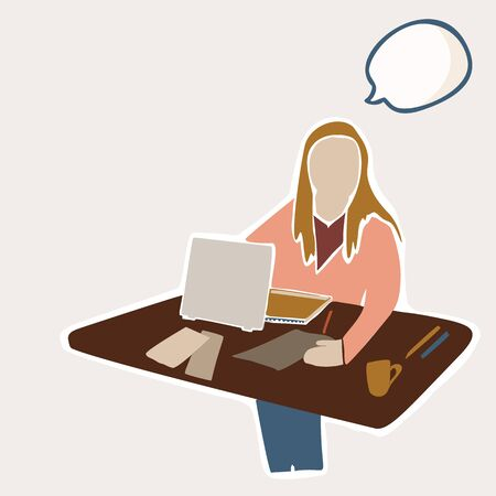 Female Student Sitting at Indoor Table with Laptop and Study Books. With Isolated Thought Bubble to Add Text Illustration. Concept of Digital Nomad, Campus Learning, College Education.