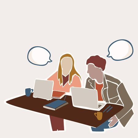 Female & Male Student Sitting at Indoor Table with Laptop . With Isolated Speech Bubble to Add Text Illustration. Concept of Digital Nomad, Campus Learning, College Education Copy Space. Vector