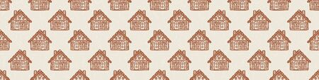 Homespun Gingerbread House with Decorated Icing Border Pattern. Seamless Ribbon Trim Background in Warm Ecru Brown with Falling Snow Texture. For Christmas Washy Tape. Isolated Vector Stok Fotoğraf - 138451763