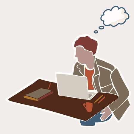 Male Student Sitting at Indoor Table with Laptop and Study Books. With Isolated Thought Bubble to Add Text Illustration. Concept of Digital Nomad, Campus Learning, College Education. Archivio Fotografico - 138451854