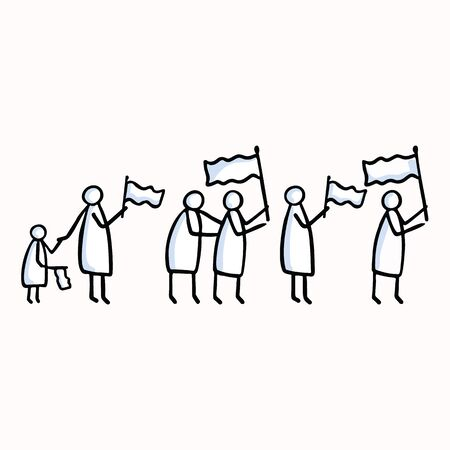 Stick Figure People Group Waving Flag. Hand Drawn Isolated Human Doodle Icon Motif. Clip Art Element. Black White Flat Color. For Encouragement, Support, Helping Hand Concept. Pictogram.