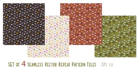 Tiny Seed Leaves Ditsy Nature Background Set of 4 Coordinating Seamless Pattern Tiles. Organic Leaf and Dot Motif for Fashion Apparel Fabric, Trendy Wallpaper, Autumn Fall Packaging.