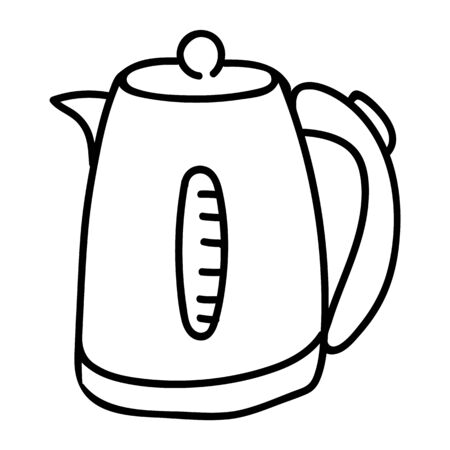 Cute Line Art Electric Kettle Cartoon Vector Illustration. Hand Drawn Hot Drink Element Clip Art for Kitchen Concept. Breakfast Graphic, Drink and Machine Web Buttons. Appliance Motif Illustration.