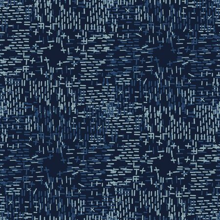 Boro Fabric Patch Kantha Vector Texture. Darning Embroidery Needlework Seamless Background. Indigo Blue Dye. Sashiko Running Stitch Pattern Textile Print. Japan Fashion Masculine Quilting.