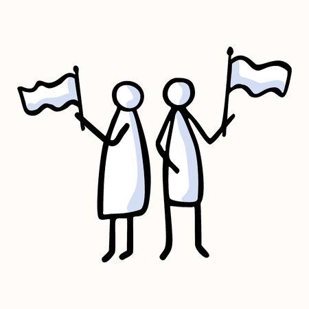 Two Stick Figure People Waving Flag. Message, Protest Victory, Activist Campaign Concept. Pictogram.