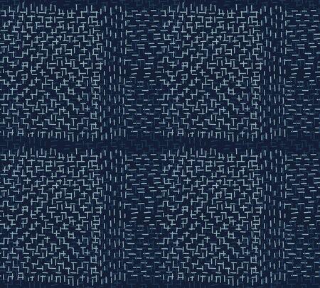 Boro Fabric Patch Kantha Pattern. Illustration