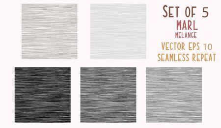Fond de texture chiné gris chiné. Tissu en faux coton avec style T-shirt vertical. Conception de modèle de vecteur. Triblend gris, noir, blanc pour un effet textile. Vecteur EPS 10. Vecteurs
