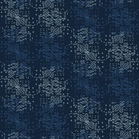 Boro Fabric Patch Kantha Texture. Darning Embroidery Needlework Seamless Background.