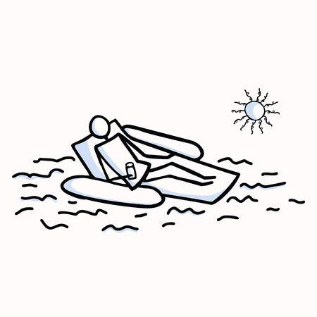 Persona di figura stilizzata di vettore di prendere il sole. Rilassarsi con un drink sul galleggiante della piscina al sole. Elemento di motivo dell'icona di Doodle umano isolato disegnato a mano per il concetto di vacanza, resort, luce solare o estate. Pittogramma EPS 10