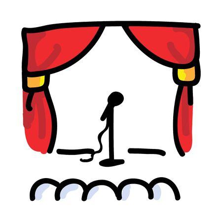 Teatro dibujado a mano con micrófono. Concepto de audiencia teatral. Motivo de icono simple para pictograma de artista de comedia. Voz, Discurso, Levántate, Cortina Bujo Ilustración. Eps vectoriales 10.