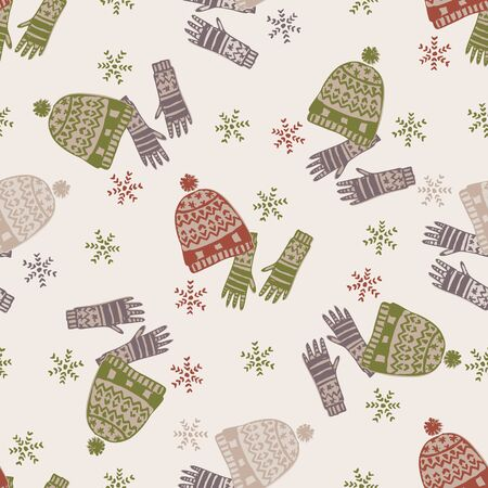Seasonal Winter Warmer Seamless Pattern. Holiday background with Hand Drawn Flat Doodle Festive Icon. Scandi Huggy Knit Hat, Knitted Mittens and Snowflakes.