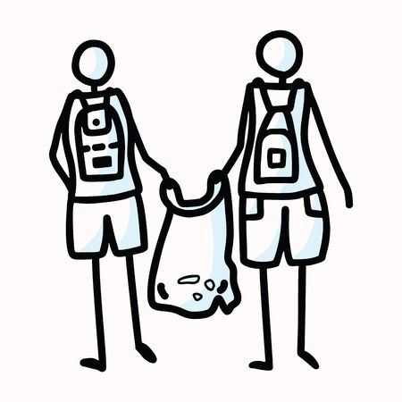 2 Young People Stick Figures with Backpack out Trash Collecting. Concept of Beach Clean Up Earth Day. Symbol Icon Motif for Environmental Earth Day, Eco Rubbish Recycling Illustration.