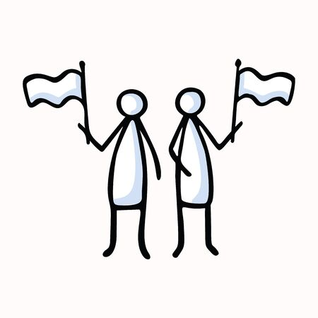Two Stick Figure People Waving Flag. Hand Drawn Isolated Human Doodle Icon Motif.