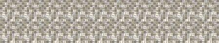Geometric Camouflage Mosaic Border Background. Seamless Pattern with Woven Khaki Green Broken Lines. 向量圖像