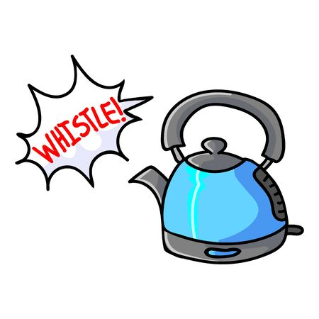 Cute Whistling Kettle Cartoon Vector Illustration. Hand Drawn Hot Drink Clip Art for Kitchen Concept. Breakfast Graphic, Drink and Machine Web Buttons. Appliance Motif Illustration. Speech Bubble. Stock Illustratie