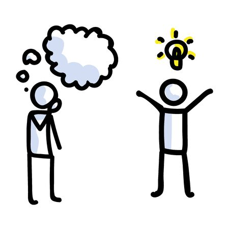 Hand Drawn Thinking Stick Figure with Idea. Concept of Inspiration Lightbulb Thought Expression. Simple Icon Motif for Brainstorming Speech Bubble Communication. Information Bujo Illustration.