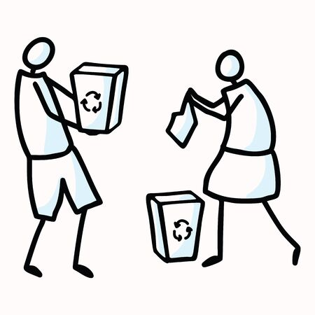 Hand Drawn Stick Figures Trash Collecting. Concept of Clean Up Earth Day. Simple Icon Motif for Environmental Earth Day, Volunteer Clipart, Eco Rubbish Recycling Teamwork Illustration.