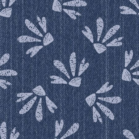 Raw Denim Blue Chambray Texture Background with Printed White Daisy. Indigo Stonewash Seamless Pattern. Close Up Textile Weave for Jeans Fabric, Wallpaper, Fashion Apparel.
