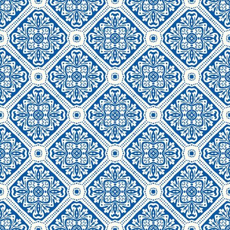 Portuguese Vector Tile Azulejo Pattern. Seamless Lisbon Blue on White Mosaic Square Background. Traditional Floral Ceramic Mediterranean Style Design. All Over Print in Repeat. Ilustrace