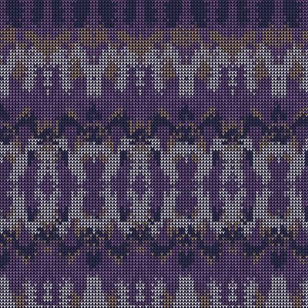 Intarsia Knitted Marl Variegated Background. Winter Nordic Style Seamless Pattern. Indigo Purple Heather Blended Texture. For Intricate Tie Dye Effect Textile, Melange All Over Print.  Иллюстрация