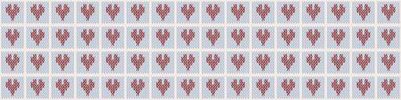 Heart Embroidery Blanket Knit Stitch Seamless Border Pattern. Homespun Handicraft Background. Woolen Love Fabric, Gender Neutral Baby Textile Ribbon Yarn Melange. Scandi Stitch Banner. Ilustrace