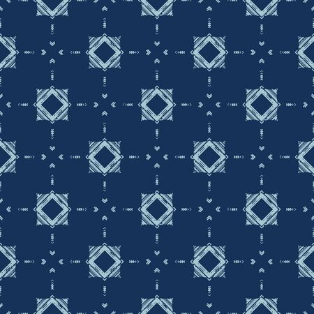 Faded Geometric Tie Dye Effect Background. Seamless Pattern Abstract Textile Swatch in Bleach Style Denim Dyed Indigo Blue.
