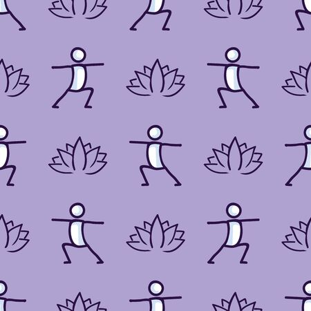 Stick figure warrior yoga pose with lotus flower seamless vector pattern. Hand drawn peace zen and wellness background. Physical exercise fitness home decor. Health aerobics. Çizim