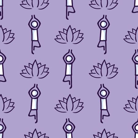 Stick figure tree yoga pose with lotus flower seamless vector pattern. Hand drawn peace zen and wellness background. Physical exercise fitness home decor. Health aerobics all.