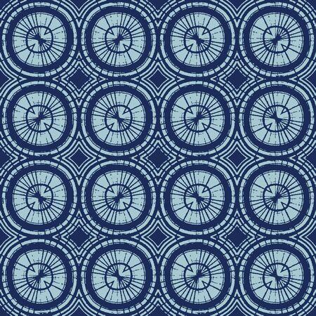 Dyed Indigo Blue Batik Circle Texture. Variegated Tie Dye Polka Dot Background. Japan Indonesian Ethnic Seamless Pattern. Distressed Irregular Bleach Effect Textile. All Over Print.