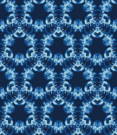 Shibori Tie Dye Effect Hexagon Background. Seamless Pattern Abstract Textile Swatch in Bleach Style Dyed Indigo Blue. 向量圖像