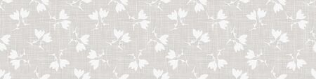 Gray French Linen Texture Banner Background printed with White Winter Leaves. Natural Unbleached Ecru Flax Fibre Seamless Pattern. Organic Close Up Weave Fabric Border. Ilustração