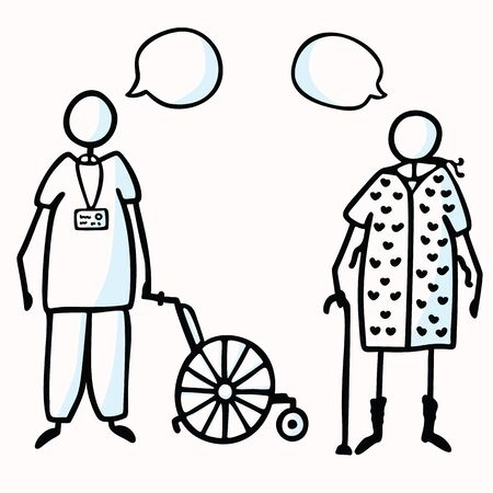 Hand Drawn Stick Figure Orderly & Old Patient With Walking Stick, Speech Bubble & Wheel Chair. Concept Hospital Elderly Care. Cartoon Icon for Man in NightGown Transport Illustration.  Illustration