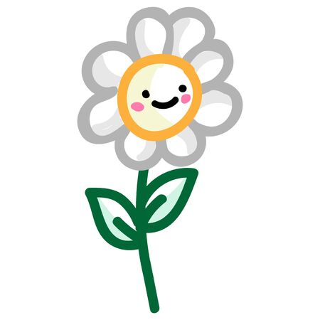 Adorable daisy flower with kawaii expression clipart. Cute plant icon. Hand drawn bloom with face motif illustration doodle in flat color. Isolated botanical, nature, garden vector. Ilustrace