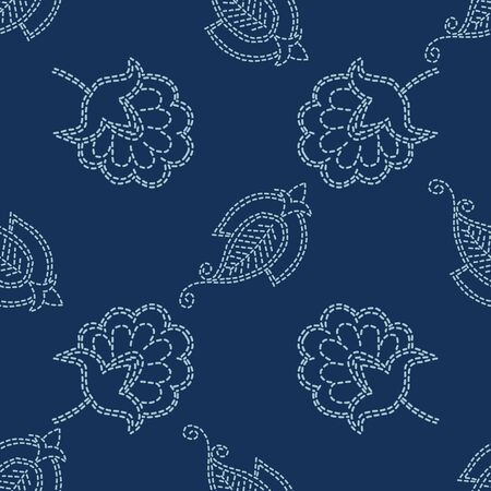Floral Paisley Motif Sashiko Style Japanese Needlework Seamless Vector Pattern. Hand Stitch Indigo Blue Line Texture for Textile Print, Classic Japan Decor, Asian Backdrop.