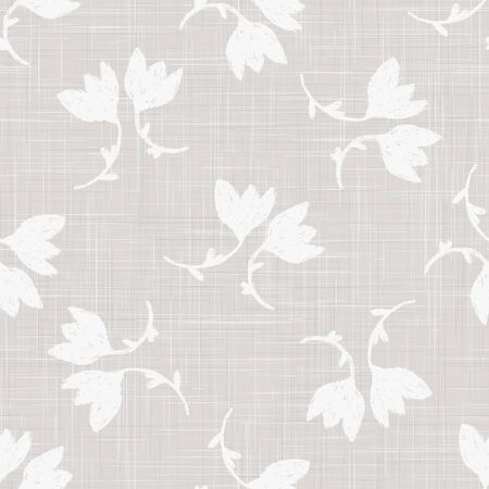 Gray French Linen Texture Background printed with White Tulip Daisy Flower. Natural Ecru Flax Fibre Seamless Pattern. Organic Yarn Close Up Weave Fabric for Wallpaper, Cloth Packaging.