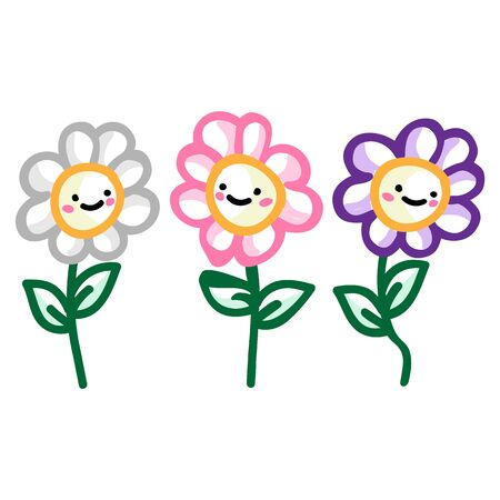 Adorable three daisy flower with kawaii expression clipart. Cute plant icon. Hand drawn bloom with face motif illustration doodle in flat color. Isolated botanical, nature, garden vector. Ilustrace