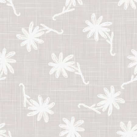 Gray French Linen Texture Background printed with White Daisy Flower. Natural Ecru Flax Fibre Seamless Pattern. Organic Yarn Close Up Grey Beige Weave Fabric Wallpaper, Cloth Packaging. Illusztráció