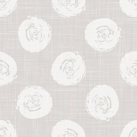Gray French Linen Texture Background printed with White Rustic Drawn Polka Dot Circle. Natural Ecru Flax Fibre Seamless Pattern. Organic Yarn Close Up Weave Fabric for Wallpaper Cloth. Ilustração