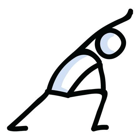 Hand Drawn Stick Figure Lunge Yoga Pose. Concept of Stretching Excercise for wellness Illustration. Simple Icon Motif of Relax Fitness Workout. Energy, Meditation, Peace, Chakra Clip Art.