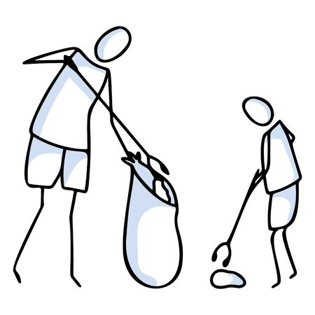 Hand drawn stick figures trash sweeping teamwork. Concept of clean up earth day. Simple icon motif for environmental earth day, volunteer clipart, parent and child recycling illustration.