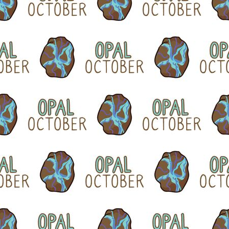 Mystical Opal September Birth Stone Vector Seamless Pattern. Hand Drawn Birthday Geology Crystal Background. Trendy Magic Mineral Fashion Home Decor. Blue Esoteric Typography.